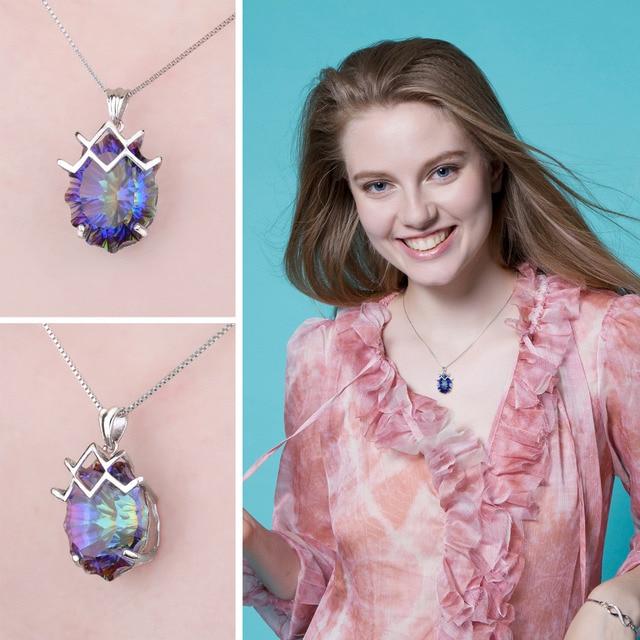 21ct Genuine Rainbow Fire Mystic Topaz Gem Stone Necklace 2