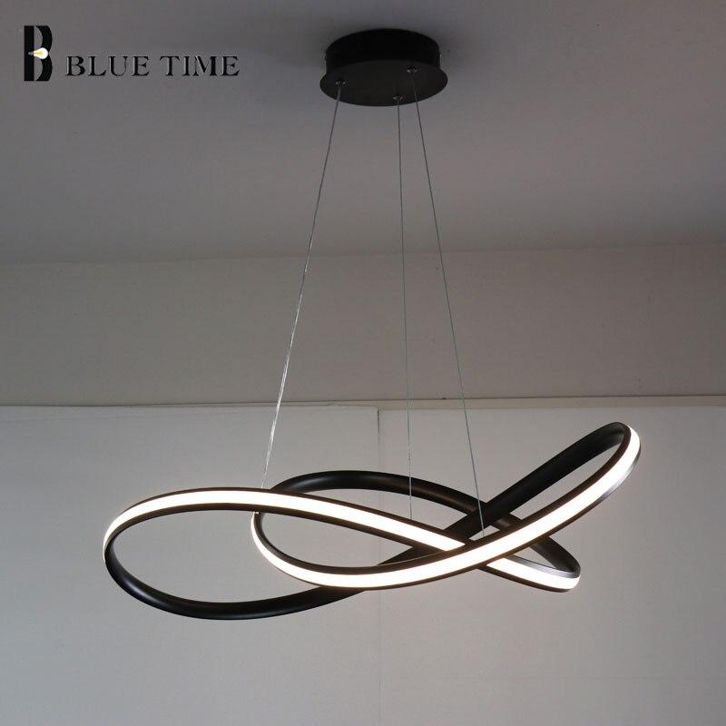 Blanc/Noir Moderne LED Pendentif Lumière Pour salon Chambre salle À Manger Suspendus Lampe LED Pendentif Lampe Éclairage À La Maison led Lustre