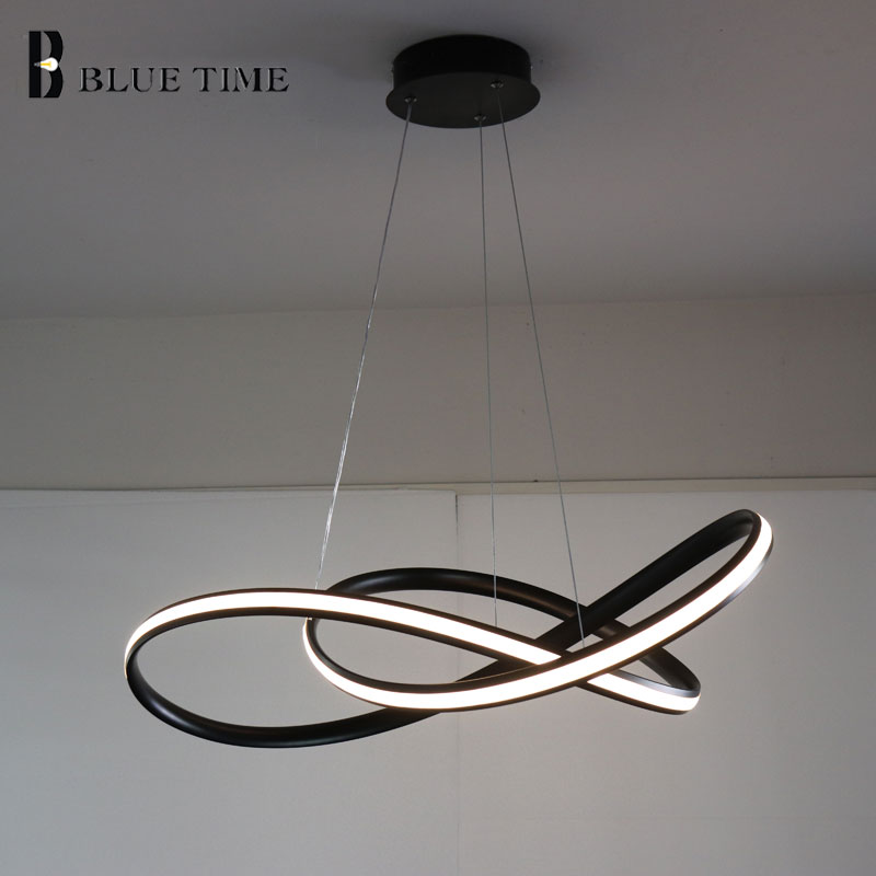 White/Black Modern LED Pendant Light For Living room Bedroom Dining room Hanging Lamp LED Pendant Lamp Home Lighting Led Lustre modern wicker pendant light bird cage hand knitting pendant hanging dining room lamp american style for living room lighting