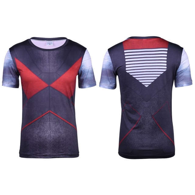 2016 Colossus Roupas Homens 3D T-shirt Impressos Camisa De Compressão Vingadores Cosplay Traje de Manga Curta Quick Dry