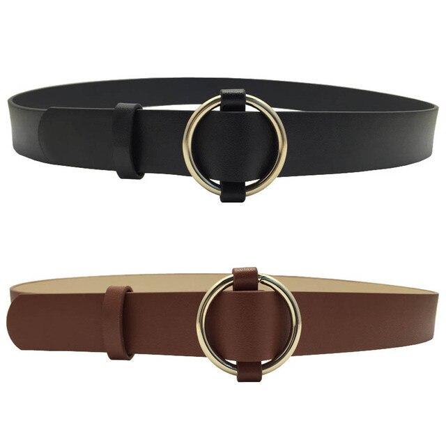 1 unid Pza moda mujer oro hebilla redonda Cinturones Mujer ocio Jeans  cinturón salvaje sin hebilla 34d5799e2075