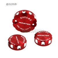 For DUCATI Monster 1100/S/EVO 1200/S/R Front Brake Clutch Rear Brakes Fluid Reservoir Cylinder Cover Oil Cap Tank Cup Red Logo