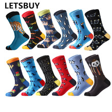 LETSBUY 12pairs Lot men s socks combed cotton cartoon animal tiger harajuku cool long socks big