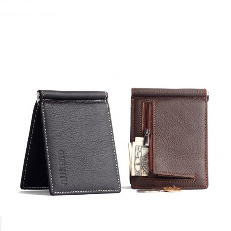 Nya män äkta läderplånbok Slim Money Clip Zipper Pocket Purse 6 kortspår ID-hållare Multifunktionskoppling Kontantklämma