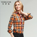 Veri Gude Women's Fashion Slim Fit Long Sleeve Shirt  All-match Patchwork Plaid Shirt Free Shipping Colorful Spring And Autumn