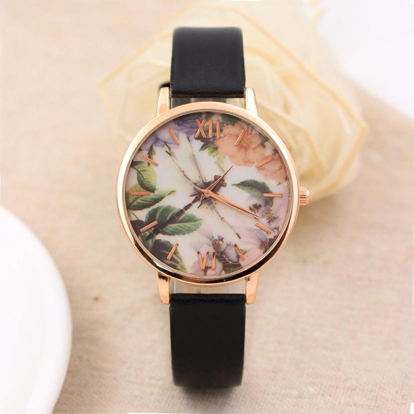Fashion Women Watches Freshing Dragonfly Pattern PU Leather Band Analog Quartz Round Wrist Watch Women's Clock Reloj Mujer Aug15 cute cat pattern women fashion watch 2017 leather band analog quartz round wrist watch ladies clock dress watches relogio time