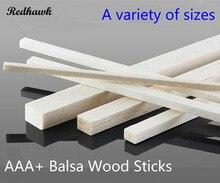 300mm lång storlek 10x10 / 12x12 / 15x15 / 20x20mm Långt fyrkantigt trä AAA + Balsa Wood Sticks Strips för flygplan / båt DIY modell