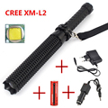 Sets Powerful led flashlight 18650 CREE XM L2 Telescopic baton self defense police 1101 Patrol LED rechargeable flash light