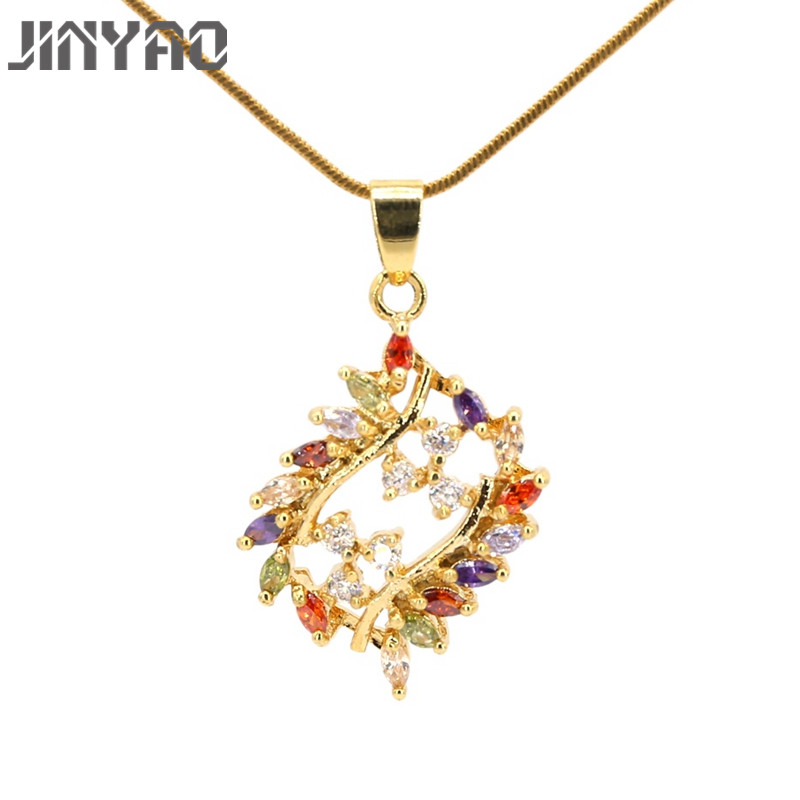 Jinyao Champagne Gold Color Multicolor Zircon Pendant