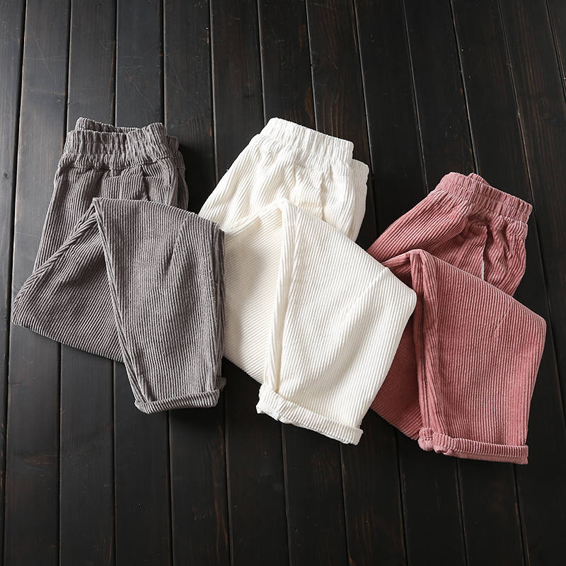 Autumn Winter Corduroy Pants Women Plus Size 3XL Elastic Waist Harem Pants Casual Corduroy Trousers Women Pantalon Mujer C4856