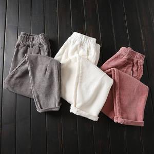 Image 1 - Autumn Winter Corduroy Pants Women Plus Size 3XL Elastic Waist Harem Pants Casual Corduroy Trousers Women Pantalon Mujer C4856