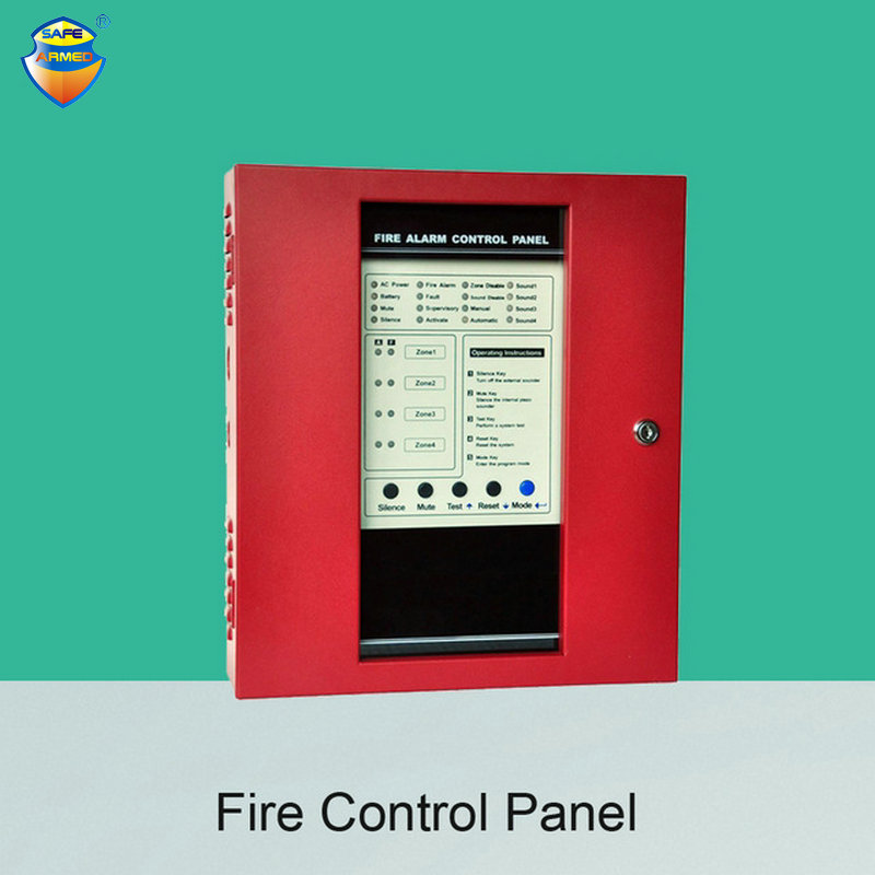 Fire Control Panel 4 Wire Zones Support Smoke Alarm System Combustible GAS Sensor Door Open Alarm at School or Home cybernetics or control