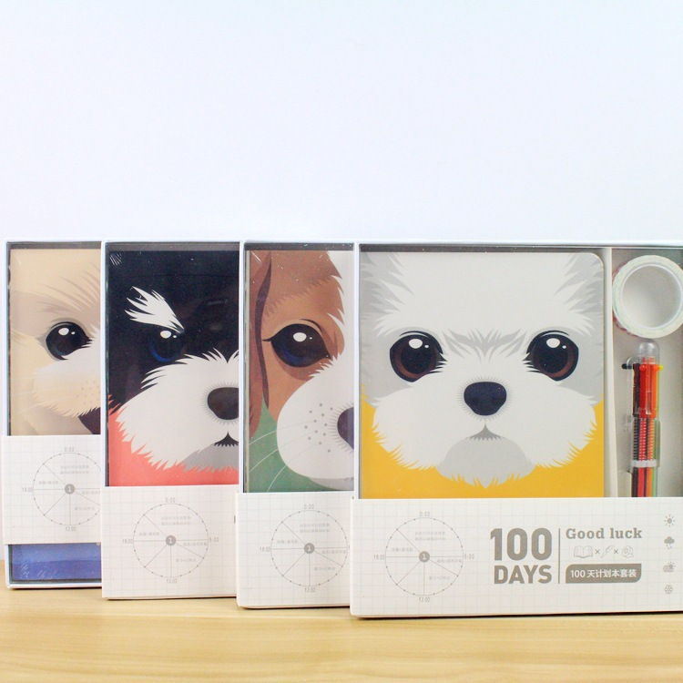 Cute Cartoon Dog 100 Days Schedule Book Diary Weekly Planner Notebook School Supplies Gift
