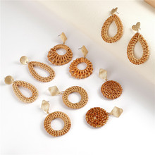 2019 Newest Handmade Straw Rattan Knit Hanging Earrings For Women Boho Charm Geometric Round Drop Earring Fashion Jewelry