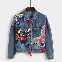 Women Jeans Jackets Short Tops Pattern Butterfly Tassel Embroidery Long Sleeve Denim Coat Ripped  2016 Hot High Quality