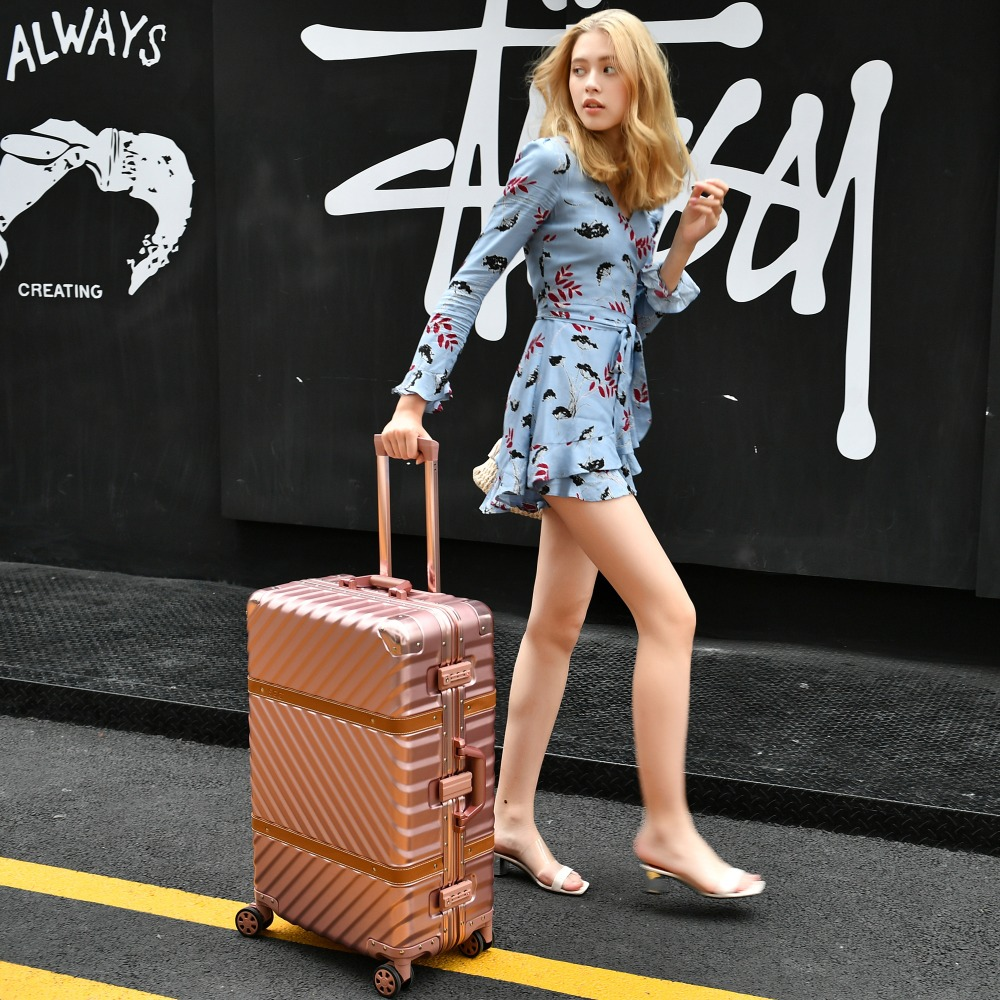 20''24''29''Aluminum Luggage Travel Trolley Suitcase Metal Hardside Rolling Luggage Suitcase Carry on Luggage Boarding Case