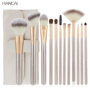 Professional 12pcs Makeup Brushes Set Foundation Powder Blush Eyeshadow Sponge Brush Soft Hair Cosmetic Tools with Leather Bag 1