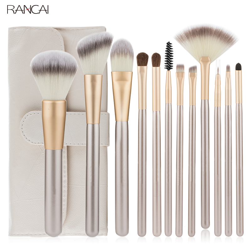 Professionelle 12 stücke Make-Up Pinsel Set Foundation Powder Blush Lidschatten Schwamm Pinsel Weiche Haar Kosmetische Werkzeuge mit Leder Tasche