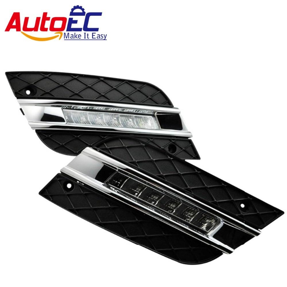 AutoEC 2pcs LED fog light daytime running light DRL For ML350 W164 ML280 ML300 ML320 2006 2009 #LM147 led daytime driving running fog light lamp for mercedes benz w164 ml350 ml280 ml300 ml320 ml500 2009 2011 drl