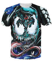 Fashion Venom Face T-Shirt Spiderman comic Character Cartoon t shirt Women Men Summer Style Outfits tops Tees Plus S-6XL R789