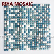 Free Shipping RIYA Blue ceramic mosaic small grain background wall bathroom kitchen pool swimming waist bar  11pcs/lot