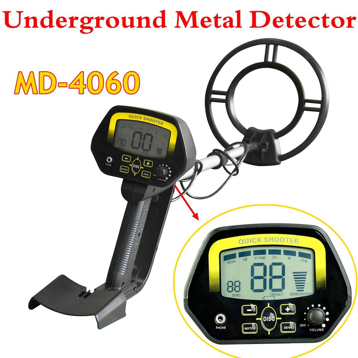 NEW <font><b>MD</b></font>-<font><b>4060</b></font> Underground Metal Detector Portable Light Weight Underground Metal Detector Length Adjustable Gold Detector image