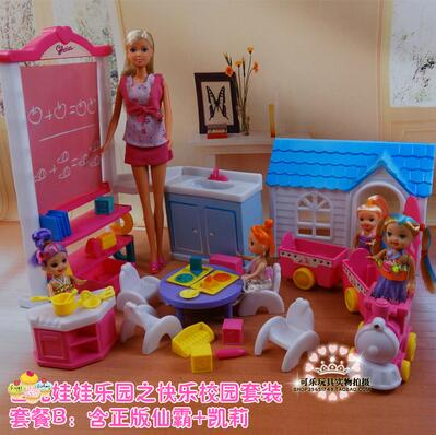 fashionista original nursery barbie kindergarten house for barbie school classroom desk cooking mini car furniture accessories