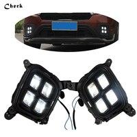 Car Styling 2Pcs LED White Flexible Daytime Running Light Fog Lamp DRL For KIA KX3 Auto