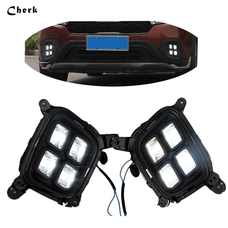 Headlight Car Styling 2Pcs LED White Flexible Daytime running light fog Lamp DRL For KIA KX3 Auto Parts 2PCS high quality h3 led 20w led projector high power white car auto drl daytime running lights headlight fog lamp bulb dc12v