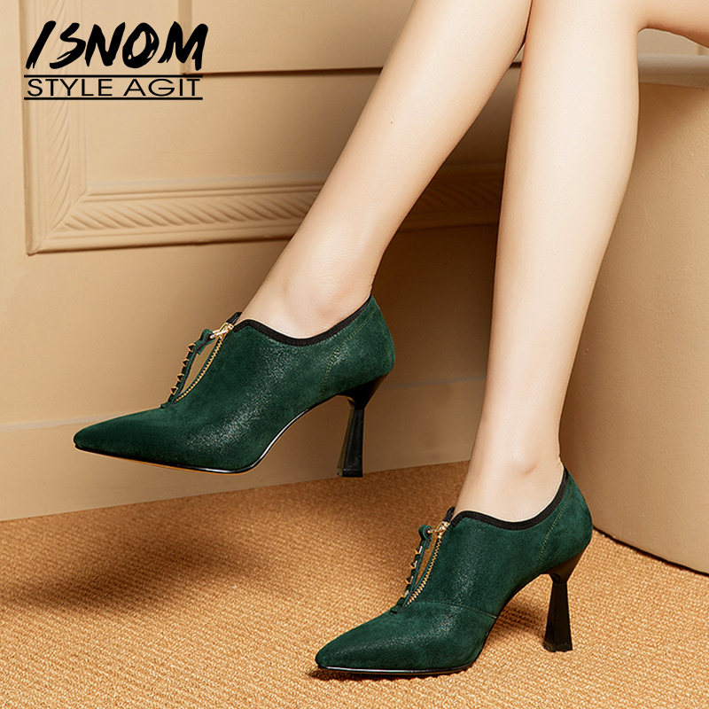 ISNOM Unusual Heels High Pumps Women Pointed Toe Footwear Fashion Studded Leather Shoes Female Rivet Office
