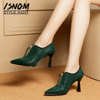 ISNOM Unusual Heels High Pumps Women Pointed Toe Footwear Fashion Stud Leather Shoes Female Office Shoes Woman 2019 Spring