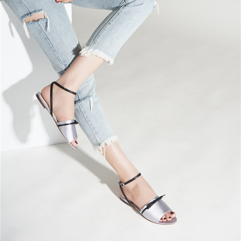 2018 New Summer Shoes Women Flat Sandals Silver Sexy Narrow Band Buckle Strap Bowknot Soft Silk Cross Strap Flat Ladies Sandals trendy splicing women s sandals with t strap and bowknot design