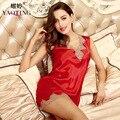 2016 woman sleep lounge spring night dress femme summer satin nightdress female silk sleepwear womens lace solid sleepshirts