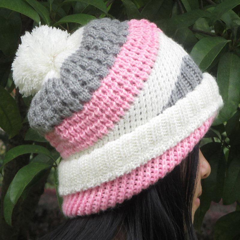 BomHCS Women's Winter Warm Crochet 100% Handmade Beanie Cap Knit Hat