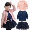 2016 Spring Baby Girls Clothing Sets 3 Pieces Suit Girls Flower Coat+ Tutu Skirt + Blue T Shirt Girls Clothes