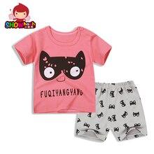 SHOWHASH Summer Cute Dog Casual Cartoon Boy Girls Clothes Sets Kids Short Sleeve Pink Blue Cotton T-shirt & Short Pants XA359