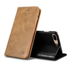 XOOMZ Genuine Leather Card Slot Wallet Case for iPhone 7 Plus Mobile Phone Folio Cover Side Open Flip Case for Apple 7