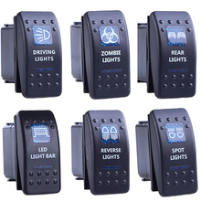 цена на 5 pcs Toggle Rocker Switch ON-OFF 12V 20A 5 Pin BACKLIT Blue LED Light VAN Marine Style Car Boat ON OFF 5P Push Button Switches