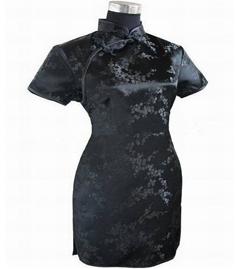 Ny Svart Rød Kinesisk Tradisjonell Kjole Kvinners Silke Cheongsam - Nasjonale klær - Bilde 3