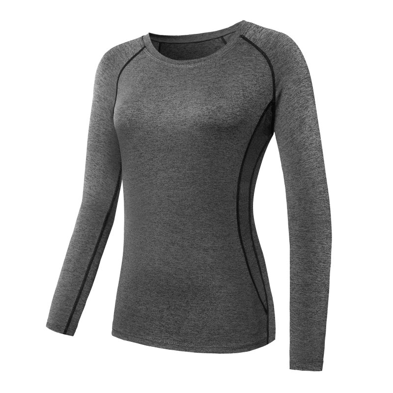 Women Long Sleeve Sports Compression T-Shirt Quick-Dry Gym Yoga Running Tops Tee 2