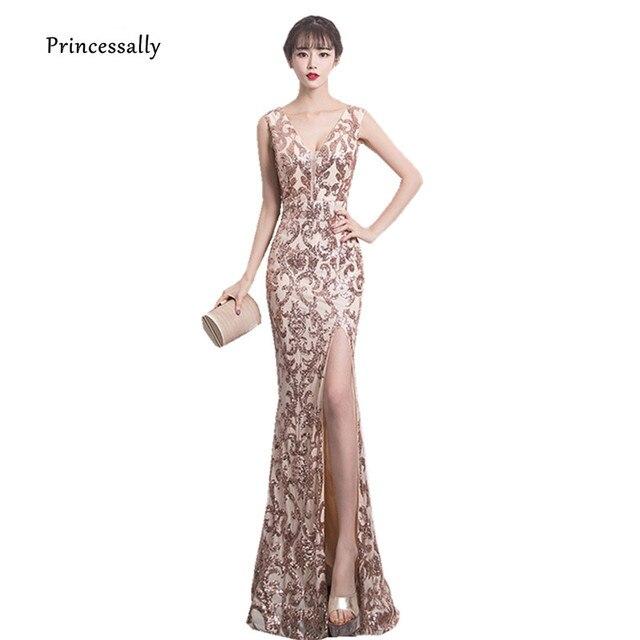 deb1a6ded Vestido De noche De lentejuelas doradas sirena larga con hendidura Sexy  cuello en V elegante vestido
