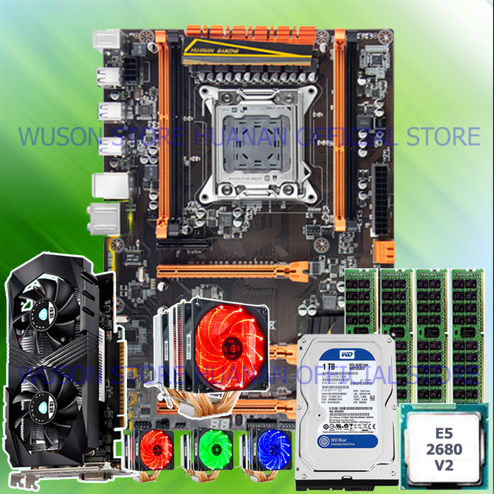 !! HUANAN deluxe X79 carte mère CPU E5 2680 V2 avec 6 heatpipes cooler RAM 16G (4*4G) DDR3 RECC 1 TB 3.5 SATA HDD GTX1050Ti 4GD5 VC