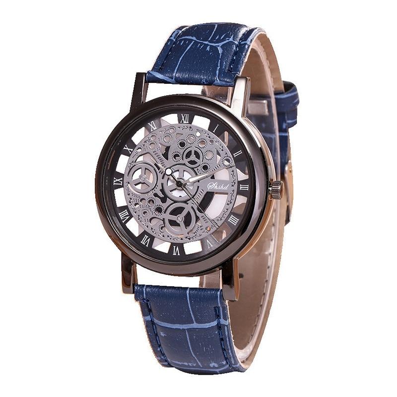 Fashion Business Skeleton Watch Men Engraving Hollow Quartz Wristwatch Leather Band Women Clock