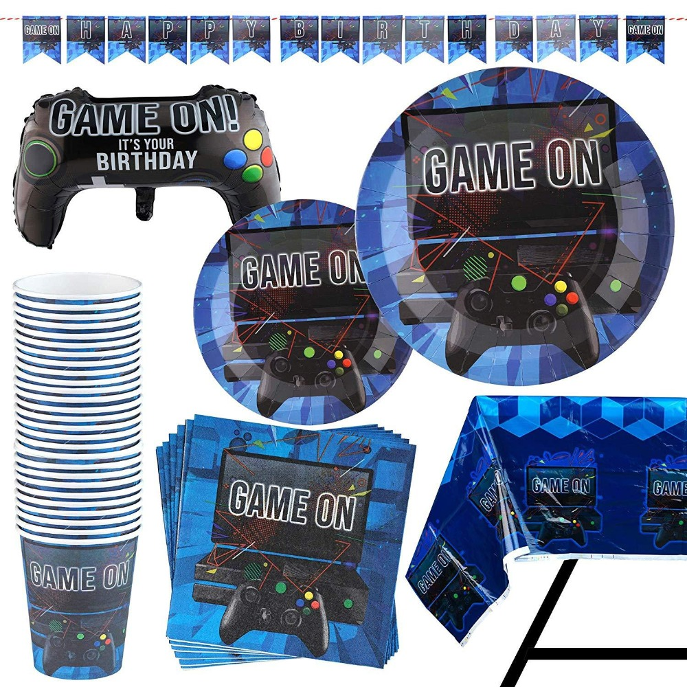 New Gamepad Theme Disposable Tablewares Set Video Game Controller Napkin Paper Cup Plate Kids Party Supplies Decorations Hot(China)