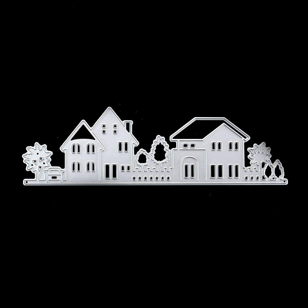 2018 New 20f# House Building Village Tree Cutting Dies for DIY Scrapbook Envelop Cut Dies Card Metal Stencils