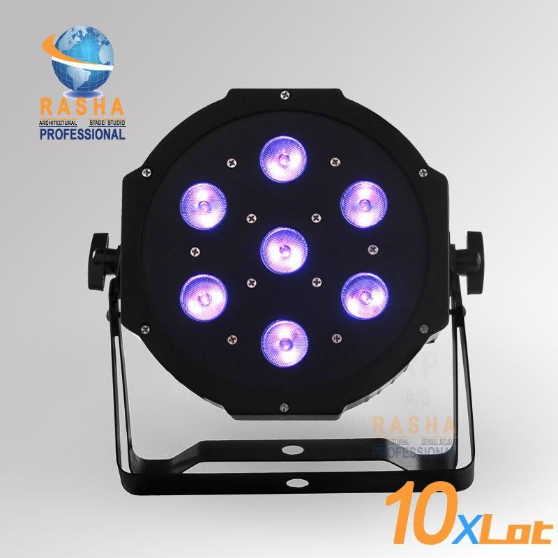 10X LOT RASHA Freeshipping HOT SALE 7pcs*12W Quad LEDs (4in1 RGBA/RGBW) LED Mega Quadpar Profile, DMX Par Can,RASHA PAR LIGHT 4x lot freeshipping adj 7 12w 4in1 quad leds rgba rgbw mega quad led par profile dmx led par can american stage light