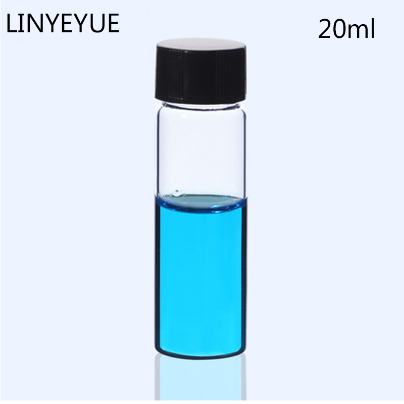 20ml Glass Sample Bottles Essential Oil Vial With PE Inner Pad Screw Cap Glass Test Tube Laboratory Bottle Supplies Pack 10