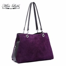 Real Genuine Italian Suede Leather Handbag