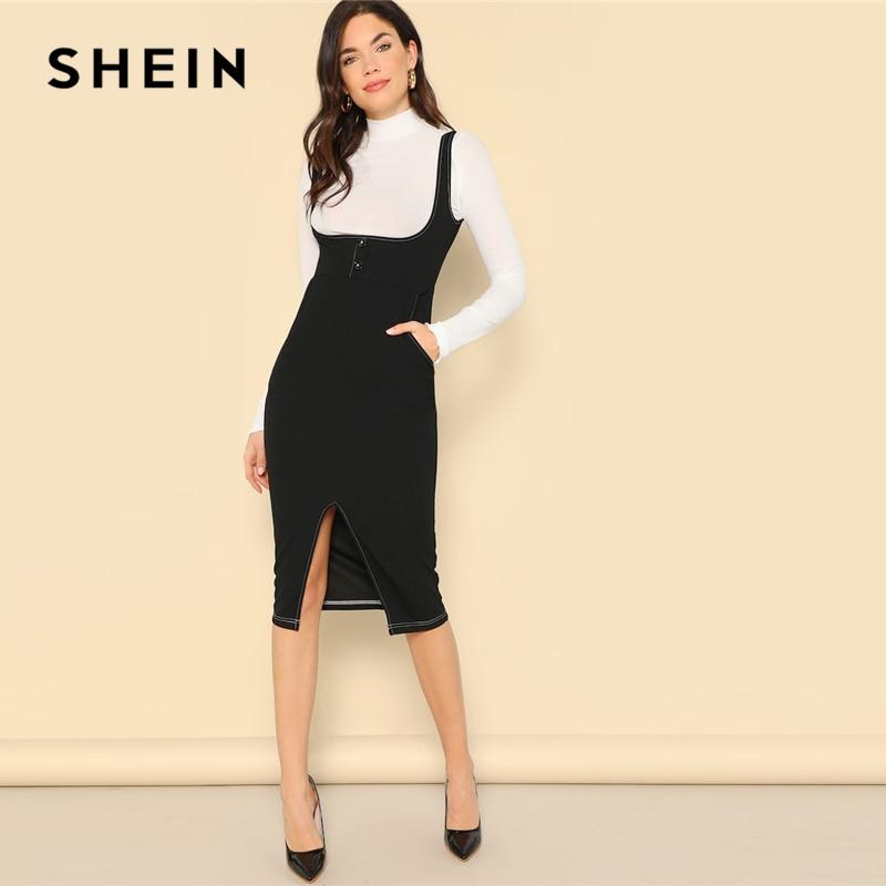 04ce227f5e Detail Feedback Questions about SHEIN Black Slit Hem Button Front Bodycon  Pinafore Sheath Straps Plain Dress Women 2019 Summer Sleeveless High Waist  Dresses ...
