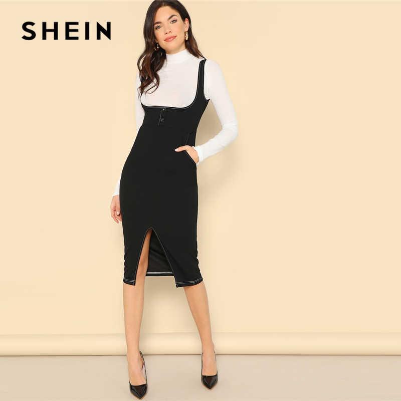 41b5f46b01 SHEIN Black Slit Hem Button Front Bodycon Pinafore Sheath Straps Plain Dress  Women 2019 Summer Sleeveless